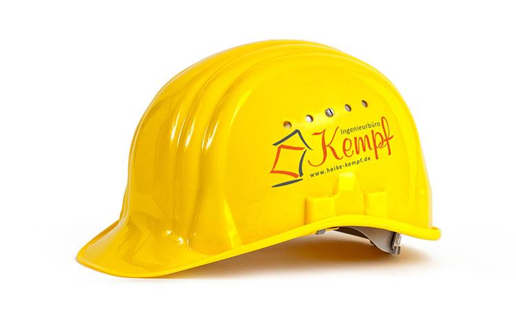 Baustellenhelm mit Logo von Heike Kempf