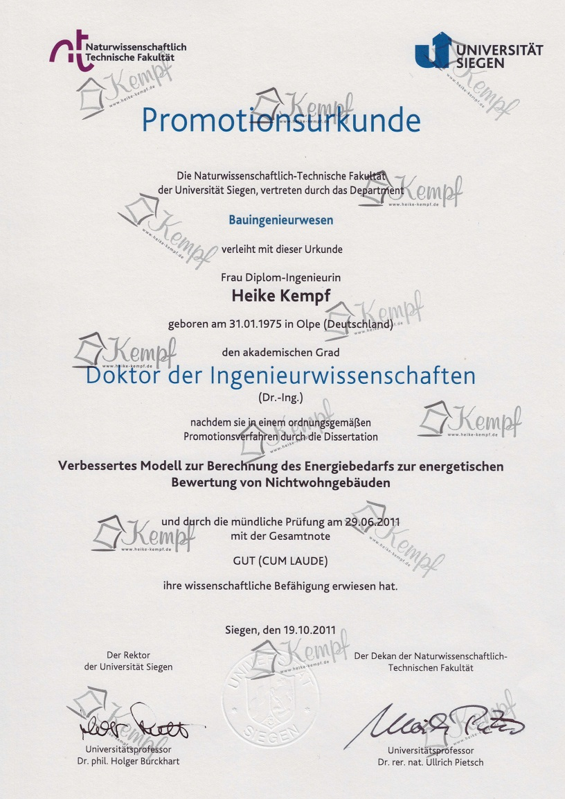 Dr Heike Kempf Bauingenieurin Qualifikationen Dr Heike Kempf