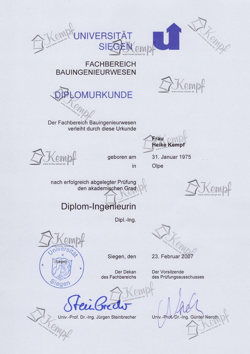 UNI Siegen Urkunde Diplom-Ingenieurin